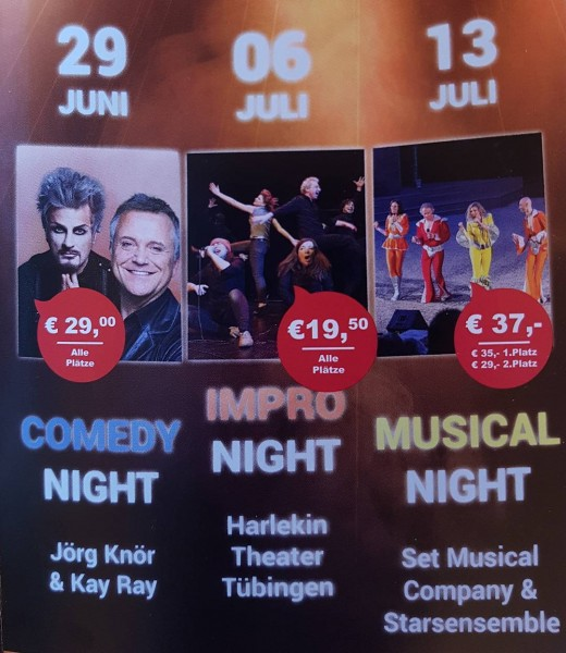 Unsere Gäste 2018:  29. Juni:  COMEDY Night 6. Juli:  IMPRO Night 13. Juli:  MUSICAL Night  #naturtheatergroetzingen #theater #spielzeit2018